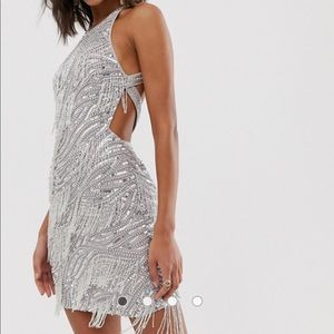 ASOS Sequin Fringe Cutout Mini Dress